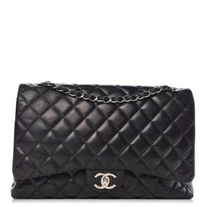 Double Flap Quilted Maxi Black Lambskin Leather To